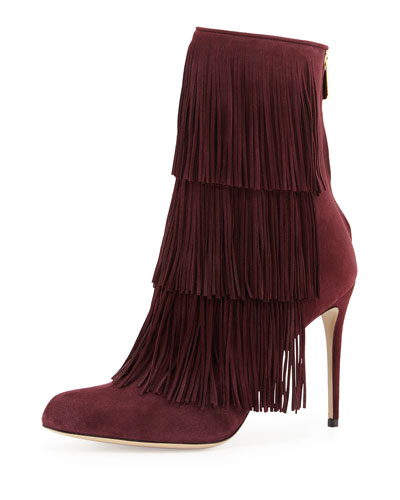 Taos Suede Fringe Ankle Boot, Cordovan