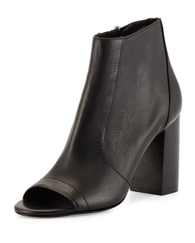 Fionn Open-Toe Leather Bootie, Black