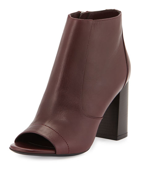 Fionn Open-Toe Leather Bootie, Fig
