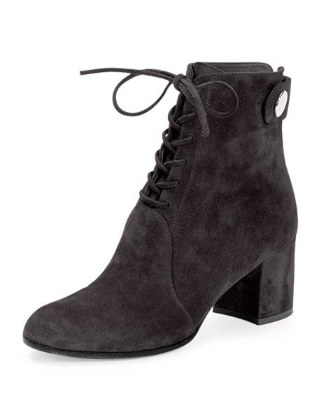 Suede Lace-Up Ankle Boot, Dark Gray