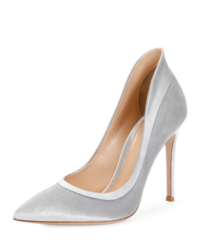 Velvet High-Heel Pump, Silver