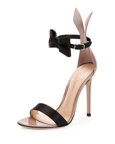 Bow-Tie Ankle-Strap Bunny Sandal, Black/Rosie