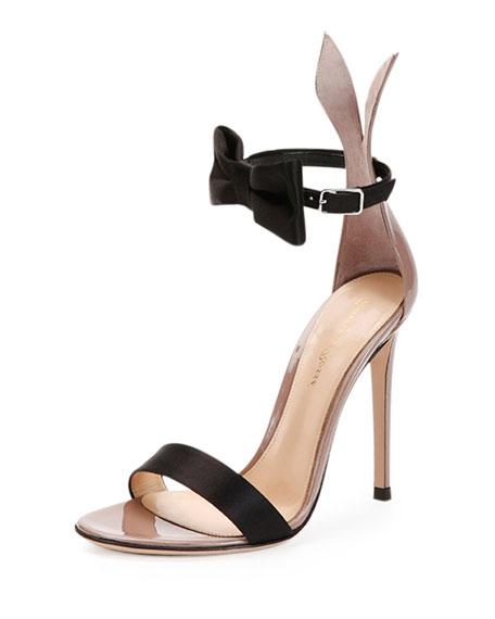 Gianvito Rossi Bow Tie Ankle Strap Bunny Sandal Black