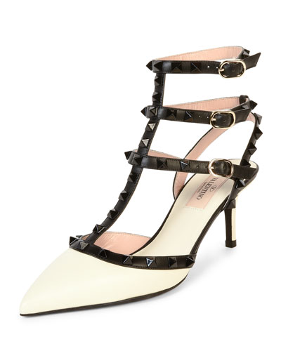 Rockstud Colorblock Leather Mid-Heel Sandal, Ivory/Black