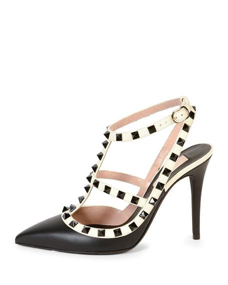 Rockstud Colorblock Leather Sandal, Black/Ivory