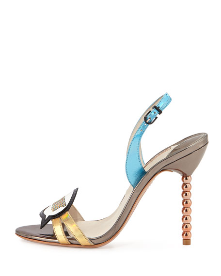 Just Sayin' Metallic Leather Sandal, Gunmetal