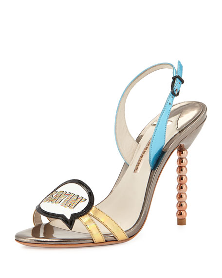 Just Sayin' Metallic Leather Sandal, Gunmetal