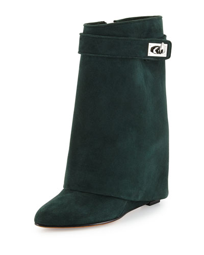 Suede Shark-Lock Fold-Over Boot, Forest Green