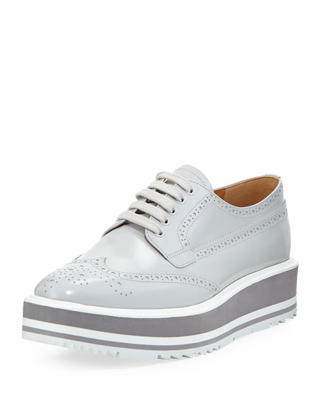 Prada Platform Brogue-Trim Leather Oxford, Crystal (Cristalo)