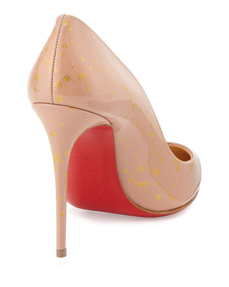 Pigalles Follies Red Sole Pump, Nude/Gold
