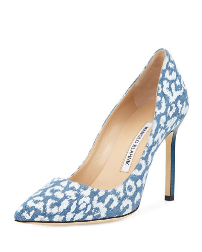 2509b6879a6 Manolo Blahnik BB Printed Denim 105mm Pump
