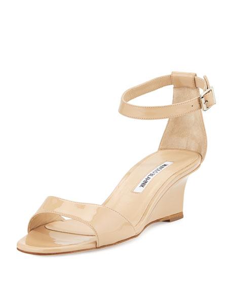 Manolo Blahnik Valta Patent Wedge Sandal, Nude