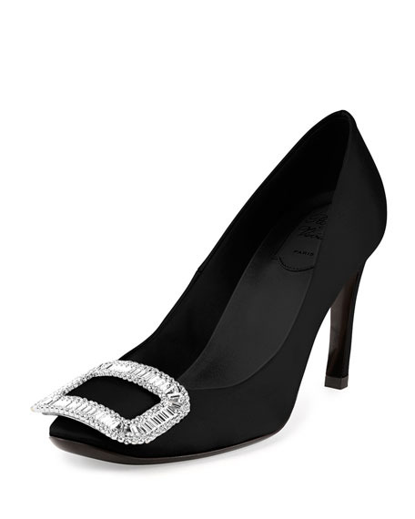 Roger Vivier Belle de Nuit Satin Pump, Black