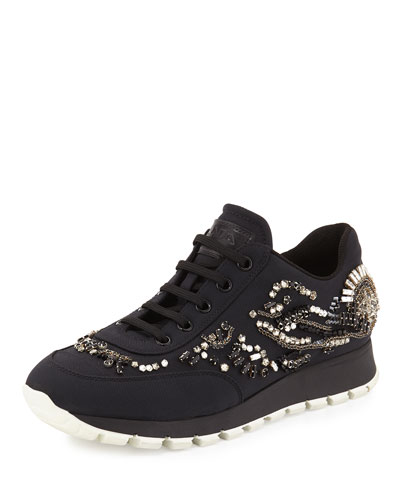 Crystal-Embellished Nylon Trainer, Black (Nero)