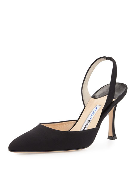 replica louboutins for sale - Manolo Blahnik Carolyne Crepe de Chine Low-Heel Pump, Black
