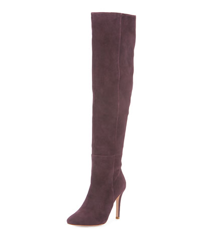Olivia Suede Over-the-Knee Boot, Plum