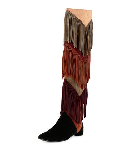 Prismick Over-the-Knee Fringe Boot, Multi