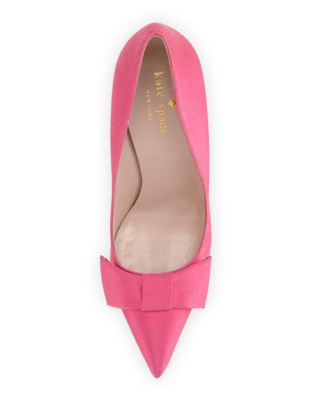 layla satin bow pump, pink