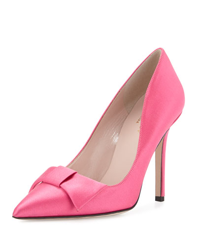 layla satin bow pump, pink