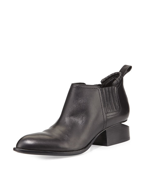 Kori Leather Tilt-Heel Boot, Black