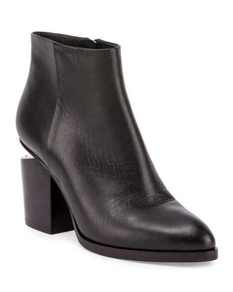 Alexander Wang Gabi Tilt-Heel Leather Boots, Black
