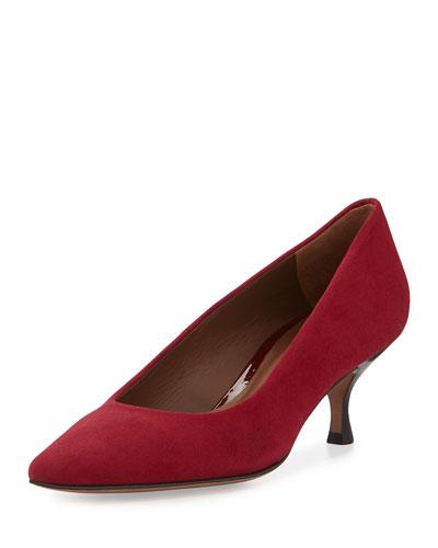 Rome Suede Low-Heel Pump, Scarlet