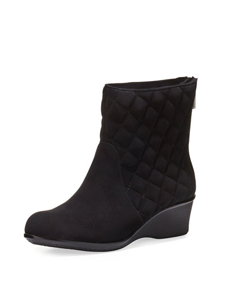 Taryn Rose Andy Quilted Demi-Wedge Boot, Black