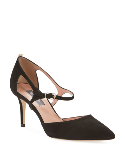 Phoebe Suede Buckle Pumps, Black
