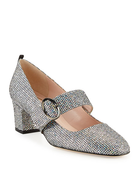 SJP BY SARAH JESSICA PARKER Tartt Sparkly Mary Jane Pump, Black/Silver