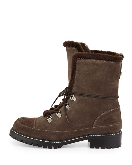 Luge Faux-Fur Hiker Boot, Lead