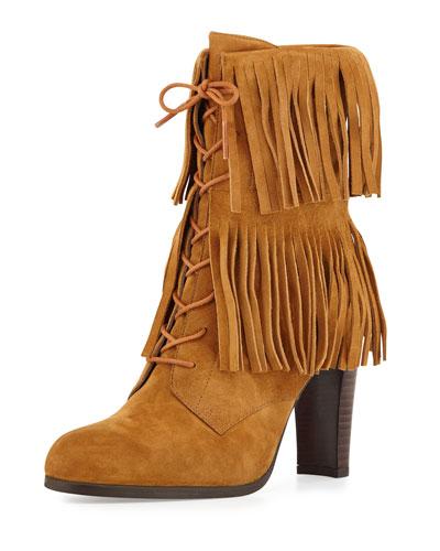Sweptaway Suede Fringe Ankle Boot, Camel
