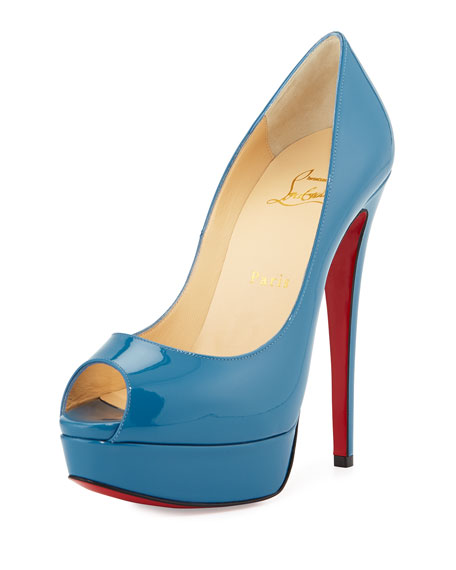 Christian Louboutin Lady Peep Patent Platform Red Sole Pump, Blue