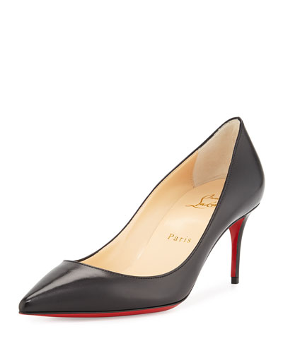 Decollette Leather Red Sole Pump, Black