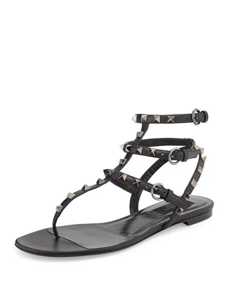 Valentino Rockstud Flat Gladiator Sandal, Noir