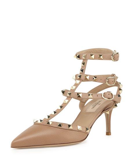 Womens Heels Lovely 73434735 Valentino Rockstud Leather Mid Heel Slingbacks Alpaca