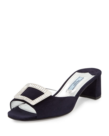 Prada Jeweled-Buckle Sandal Slide, Blue (Bleu)