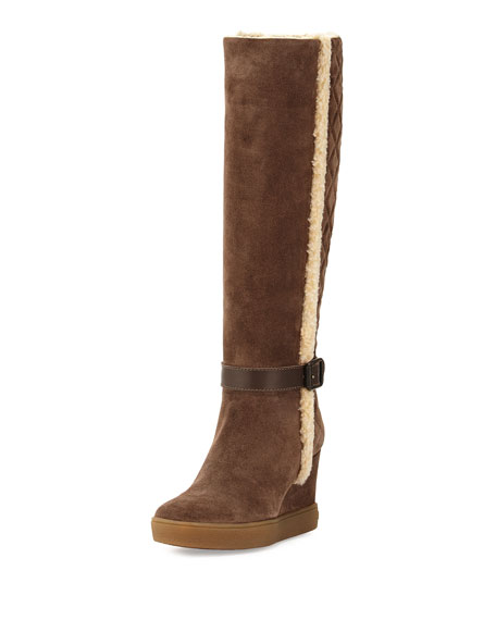 Aquatalia Callie Faux-Shearling Wedge Boot, Taupe