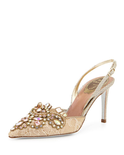 Jeweled Lace & Watersnake Pump, Gold