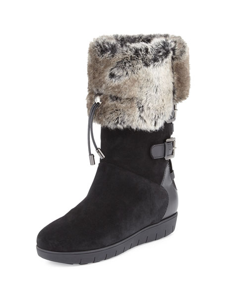 Aquatalia Weslyn Faux-Fur-Trimmed Toggle Snow Boot, Black