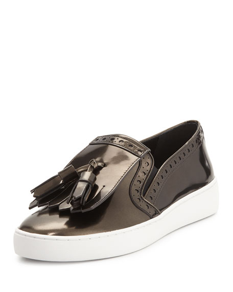 Michael Kors Collection Vesey Brushed Metallic Loafer-Style