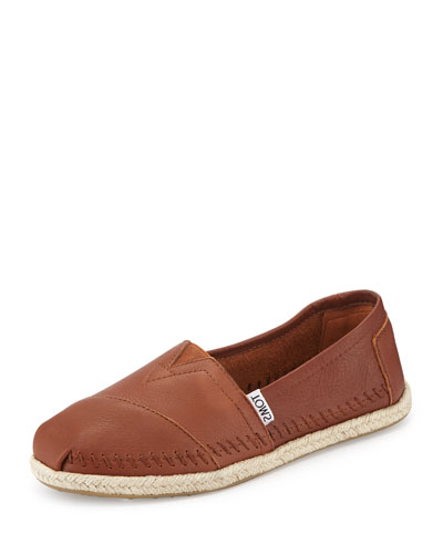 Classic Alpargata Leather Slip-On, Cognac