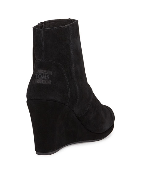 Desert Suede Wedge Bootie, Black