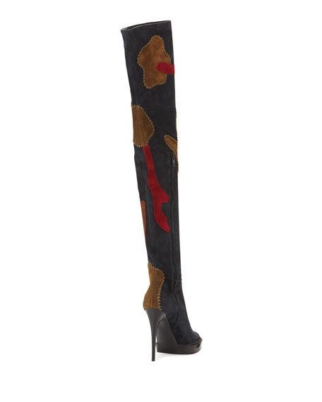 Allison Over-the-Knee Patchwork Boot, Pewter