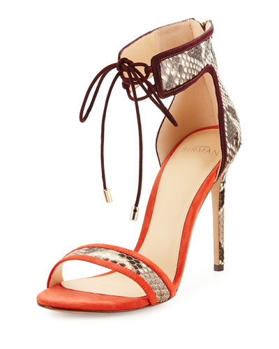 Parys Ankle-Cuff Python Sandal, Neutral/Multi