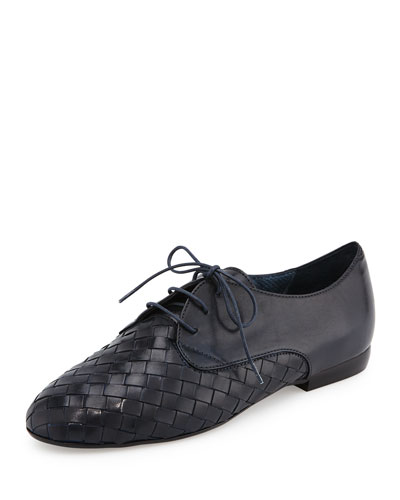 Naxos Woven Leather Oxford, Navy