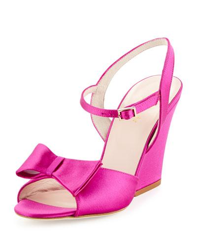 imari satin wedge sandal, pink