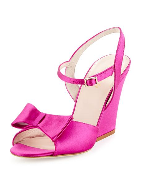 kate spade new york imari satin wedge sandal, pink