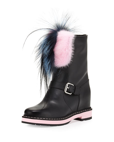 Fendi Caroline Fur-Trimmed Leather Buckled Boot