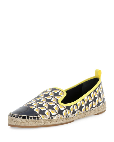 Fendi Junia Printed Cap-Toe Espadrille Flat, Black/Straw