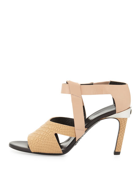 Cindy Stamped Two-Tone Sandal, Nude